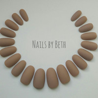 Pick Shape Matte Nude False Nails Press-On Full Cover Made in UK Handmade