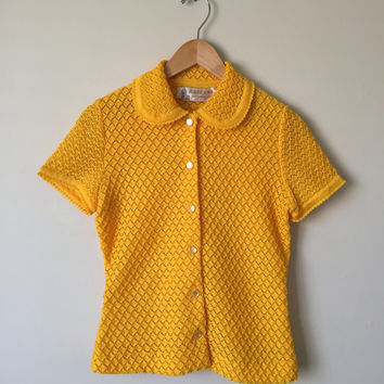 Vintage Yellow Knit Blouse Size Small/Medium