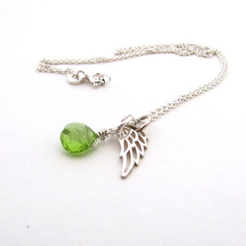 Guardian angel necklace, lymphoma awareness necklace, memorial jewelry, peridot necklace, August birthstone