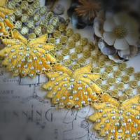 Beautiful Beaded Metallic Two Toned Gold Lace Trim, Couture Design, Dressmaking, Sewing, Bridal, Wedding Lace, Crafting Lace, etc 120B