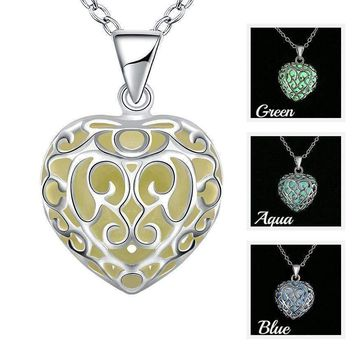Luminous Heart Small Glow in The Dark Pendant Necklace