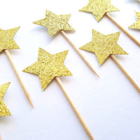 Glitter Star Cupcake Toppers, First Birthday Party, Cake Topper, Party decor, cake decor, baby boy girl, decoration, hearts, gold, silver