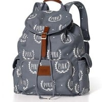 VICTORIA'S SECRET LOVE PINK GREY CRESTS HEARTS SCHOOL BAG BACKPACK BOOKBAG TOTE