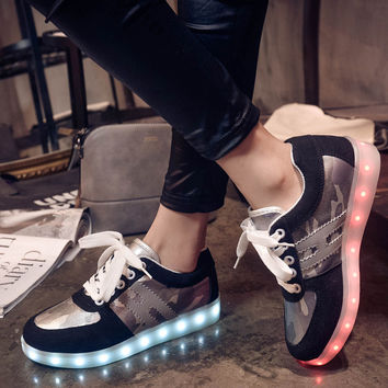 Lightning Low-cut Round-toe Noctilucent Camouflage Shoes [4964954372]