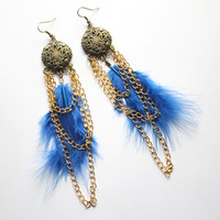 Gorgeous royal blue feather earrings, with marabou feathers and gold chains that dangle so gracefully