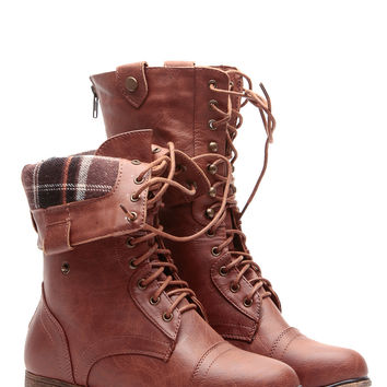 Tan Faux Leather Fold Over Plaid Combat Boots