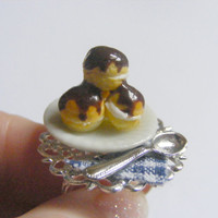 Cream Puff / Profiteroles Miniature Food Ring - Miniature Food Jewelry,Handmade Jewelry Ring