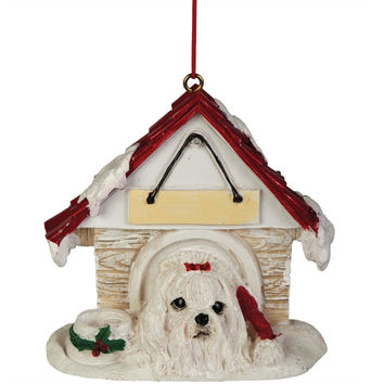 Maltese in Dog House Christmas Ornament