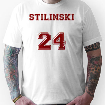 Stiles Stilinski Jersey from Teen Wolf - Red Text Unisex T-Shirt