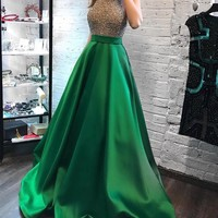 A Line Halter Beaded Long Green Satin Prom Evening Dress With Pockets