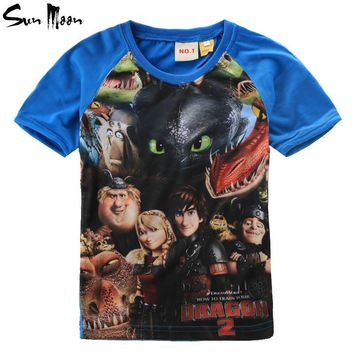 Summer boys clothes kids t shirts tops cotton baby boy clothing how to train your dragon brand t-shirt casual dinosaur boys tees