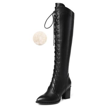 Genuine Leather Over The Knee Lace Up Boots