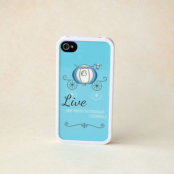 Phone Case, Custom Phone Case, Blue + White Cinderella Custom Insert + White Bumper iPhone 4 Case, iPhone 5 Case, iPhone 6 Case