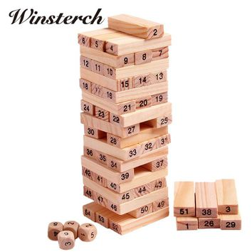 Wood Building Figure Blocks Domino 54pcs Stacker Extract Jenga Game Gift 4pcs Dice Kids Early Educational Wooden Toys Set ZS041