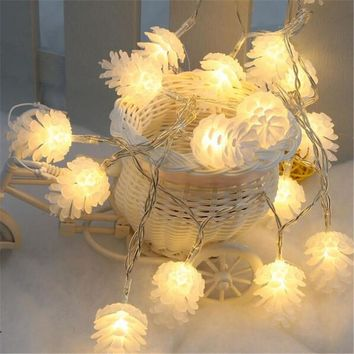 4M/20leds Colorful Modeling LED String Pinecone Flashing Christmas Lights Garlands for Holiday Party Wedding Decoration