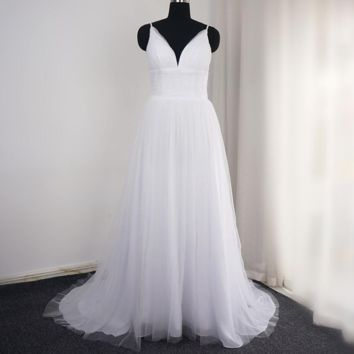 A Line Simple Wedding Dresses with Pleated Tulle Spaghetti Strap Beach Style Bridal Gown