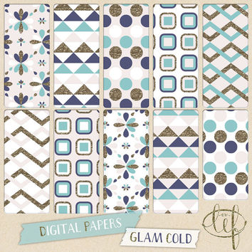 Gold Glitter Digital Paper set, turquoise, navy gold and soft pink. Seamless. Perfect for scrapbooking, making prints, blog backgrounds, etc