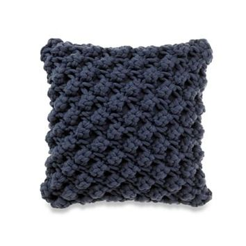 Kenneth Cole Reaction Home Mineral Chunky Popcorn Square Throw Pillow in Navy