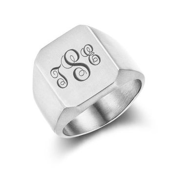 Men's Personalized Stainless Steel Monogram Signet Ring