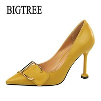 BIGTREE Women Pumps Fashion Metal Buckle Leather Yellow High Heels Single Shoes Female Spring Summer OL Dress Shoes Woman 278-3