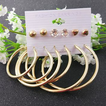 New 6pcs / set Gold silver color Big circle hoop earring women fashion Rhinestone Heart Ball statement earring Party Oorbellen