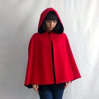 Little red riding hood, red cape, wool cape, fall fashion, fairy tale cape coat, hoodie cape, adult little red riding hood