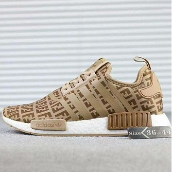 "FENDI Women ""Adidas"" NMD Boost Casual Sports Shoes Khaki"