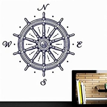Wall Decal Vinyl Sticker Decals Art Decor Design Wheel Wind Rose Compass Ship Pirates Salior Sea Ocean Kid Bedroom Living Room Nursery(r474)