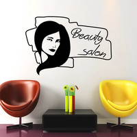 Wall Decal Fashion Beauty Salon Face Girl Woman Long Hair Design Vinyl Decals Wedding Hair Salon Hairdressing Living Room Home Decor 3769