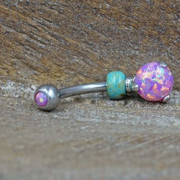 Pink Opal Belly Button Ring