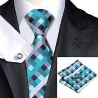Classic Green Plaid Silk Necktie Set for Men