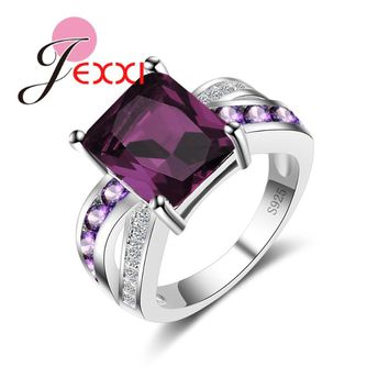 JEXXI Big Sale Fashion Vintage Jewelry Purple Square Ring Stylish Hollow Loop for Women Ladies Wedding Bridal Jewelry 925 Stamp
