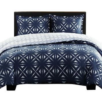 Full / Queen Navy Lattice Geometric Reversible Comforter Set