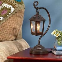 Bronze Metal Table Lantern Lamp Country Rustic Primitive Kitchen Home Decor