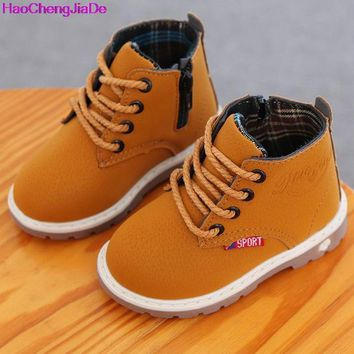 HaoChengJiaDe 2018 High-grade Children Shoes Leather Baby Boys Shoes Martin Boots Waterproof Breathable Lace-Up Ankle Girls Shoe