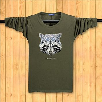 Long sleeve Men Tops Autumn and winter Casual T-Shirt printing Fox