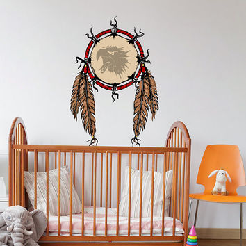 Dreamcatcher Wall Decal - Dreamcatcher Wall Sticker - Feathers Dreamcatcher Wall Art - Eagle Dreamcatcher Wall Decor - Dream Catcher mc155