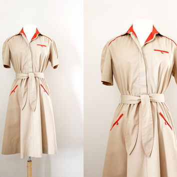 Vintage Cotton Shirt Dress - '50s Style Waitress Uniform - Rockabilly Dress - Full Skirt Dress - Size Large