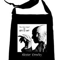 Aleister Crowley on Black Crossbody Sling Bag Occult Witchcraft Book Bag