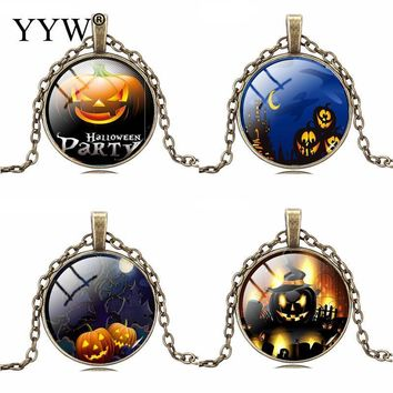 YYW Vintage Silver Color Jewelry Halloween Pumpkin Necklace&Pendants Cat Picture Glass Bronze Collares For Women Gift