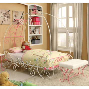 Furniture of America Princess Fantasy 2-piece Carriage-Inspired Twin Bed and Bench Set | Overstock.com Shopping - The Best Deals on Kids' Bedroom Sets