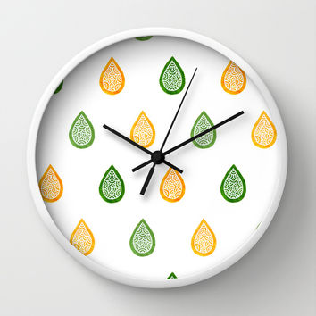 Yellow and green raindrops Wall Clock by Savousepate