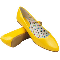Women's Casual Comfort Shoes Patented Pointy Toe Ballet Flats Yellow Size 5.5-10