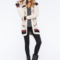FULL TILT Hooded Geo-Pattern Womens Cardigan | Cardigans & Wraps