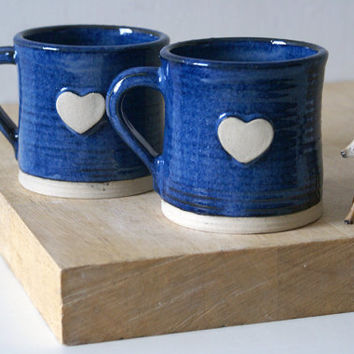 Set of two heart mugs glazed in midnight blue - hand thrown stoneware pottery