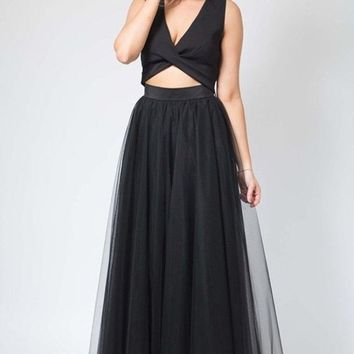 Magic in Manhattan Tulle Maxi Skirt - Black