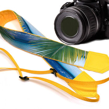 Yellow Sea Camera Strap. Beach camera strap. DSLR / SLR Camera Strap. For Sony, canon, nikon, panasonic, fuji and other cameras.