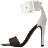 Black/White Color Block Ankle Strap Heels by Charlotte Russe