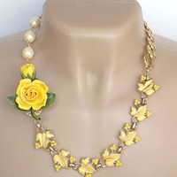 Yellow Flower Re-purposed Jewelry Necklace Vintage Handcrafted Pearl Gold Adjustable