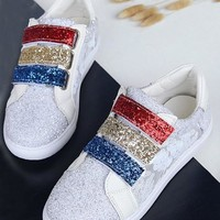 White Round Toe Flat Sequin Casual Grenadine Shoes